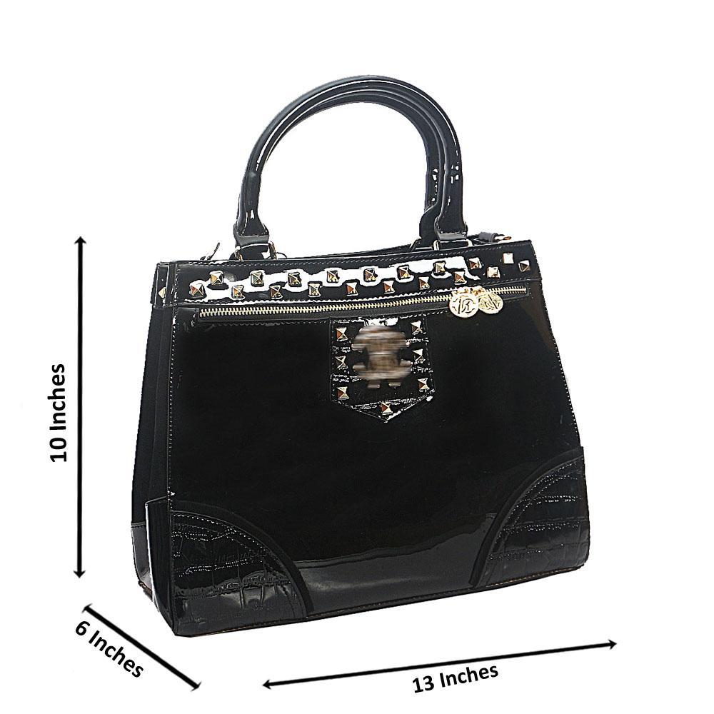 Black Gold Studded Patent Saffiano Leather Tote Handbag