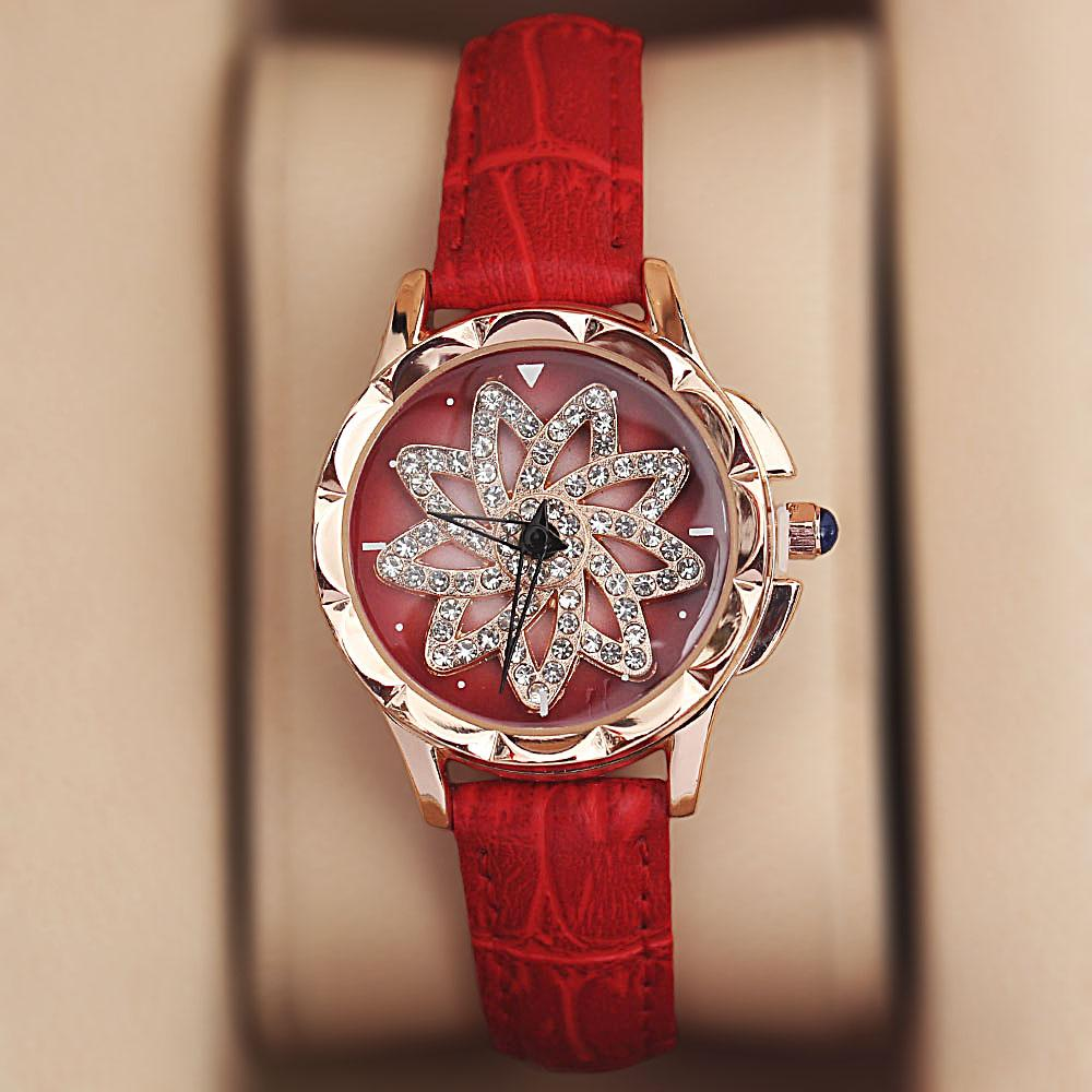 Gold Red Crystal Studded Leather Spinners Ladies Watch