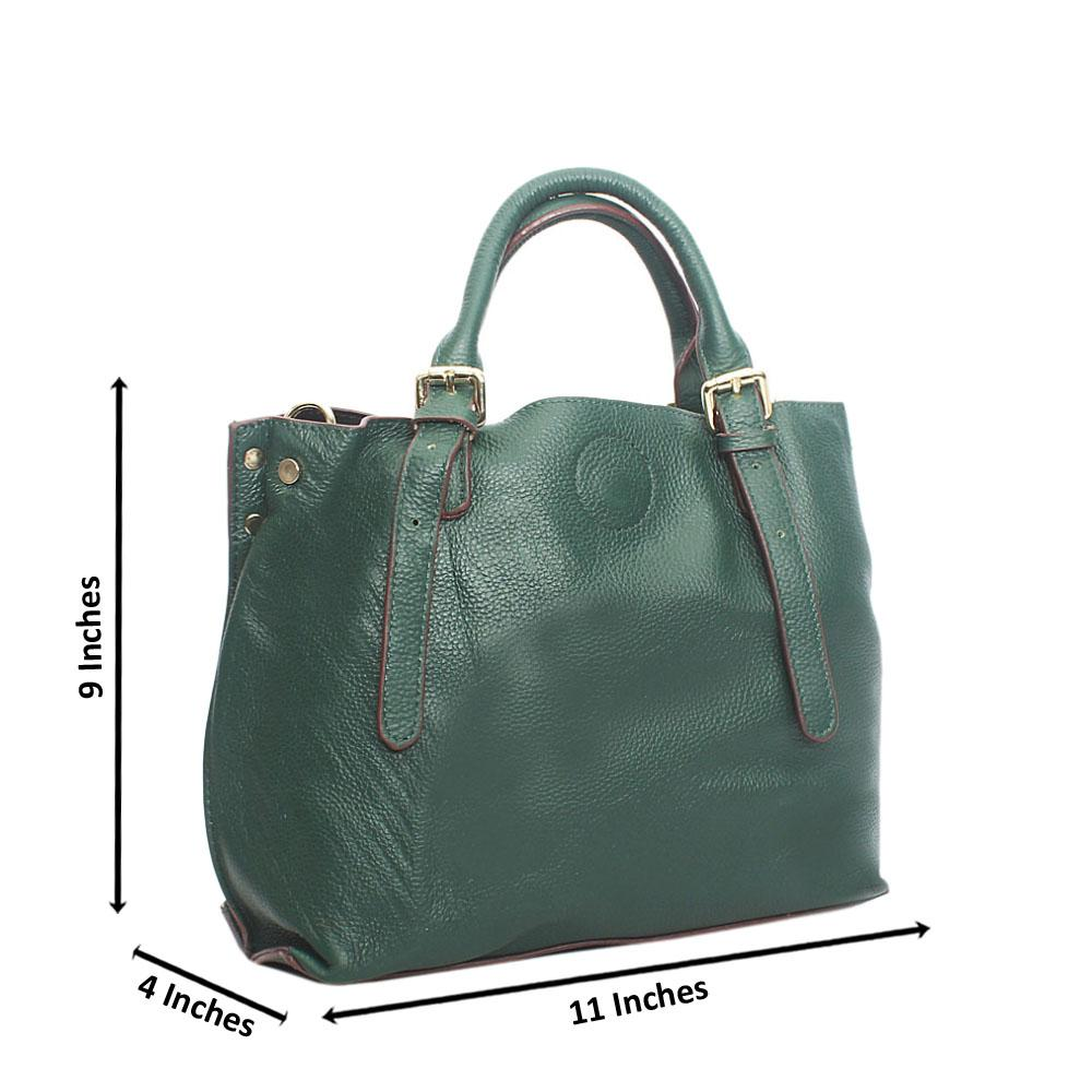 Green Small Guessland Aussie Leather Tote Handbag