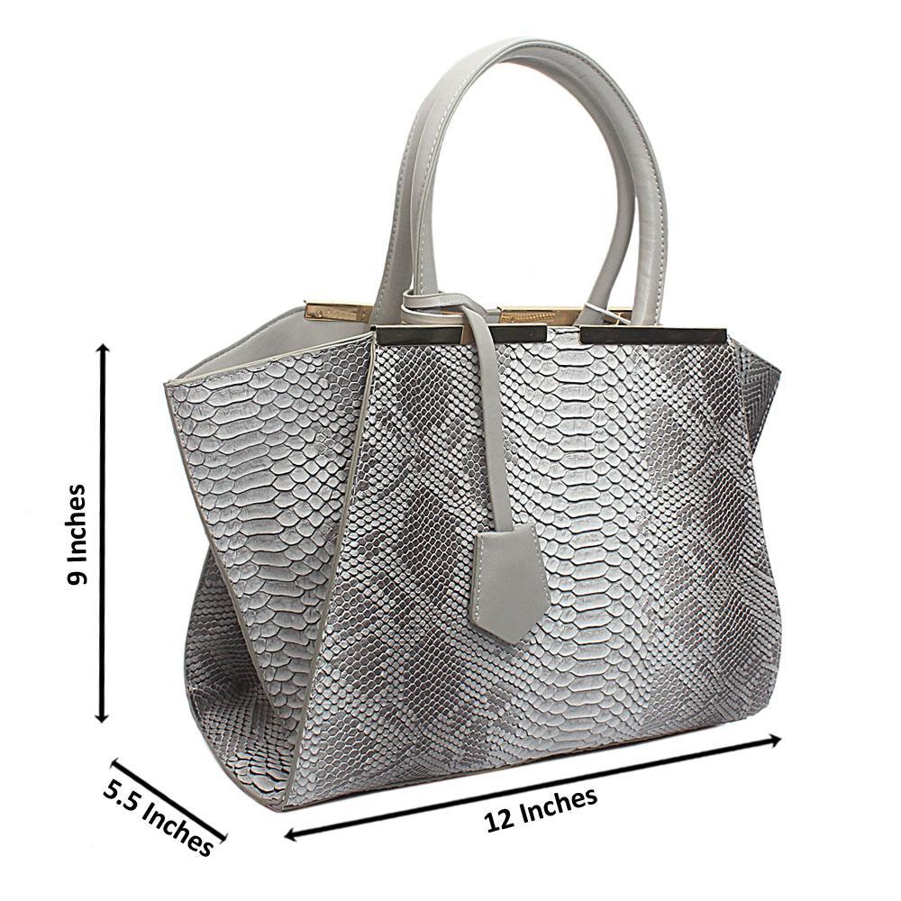 Grey Leather Medium Animal Skin Handbag