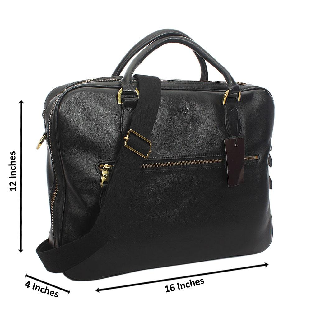 Black Smooth Grain Cowhide Leather  Briefcase