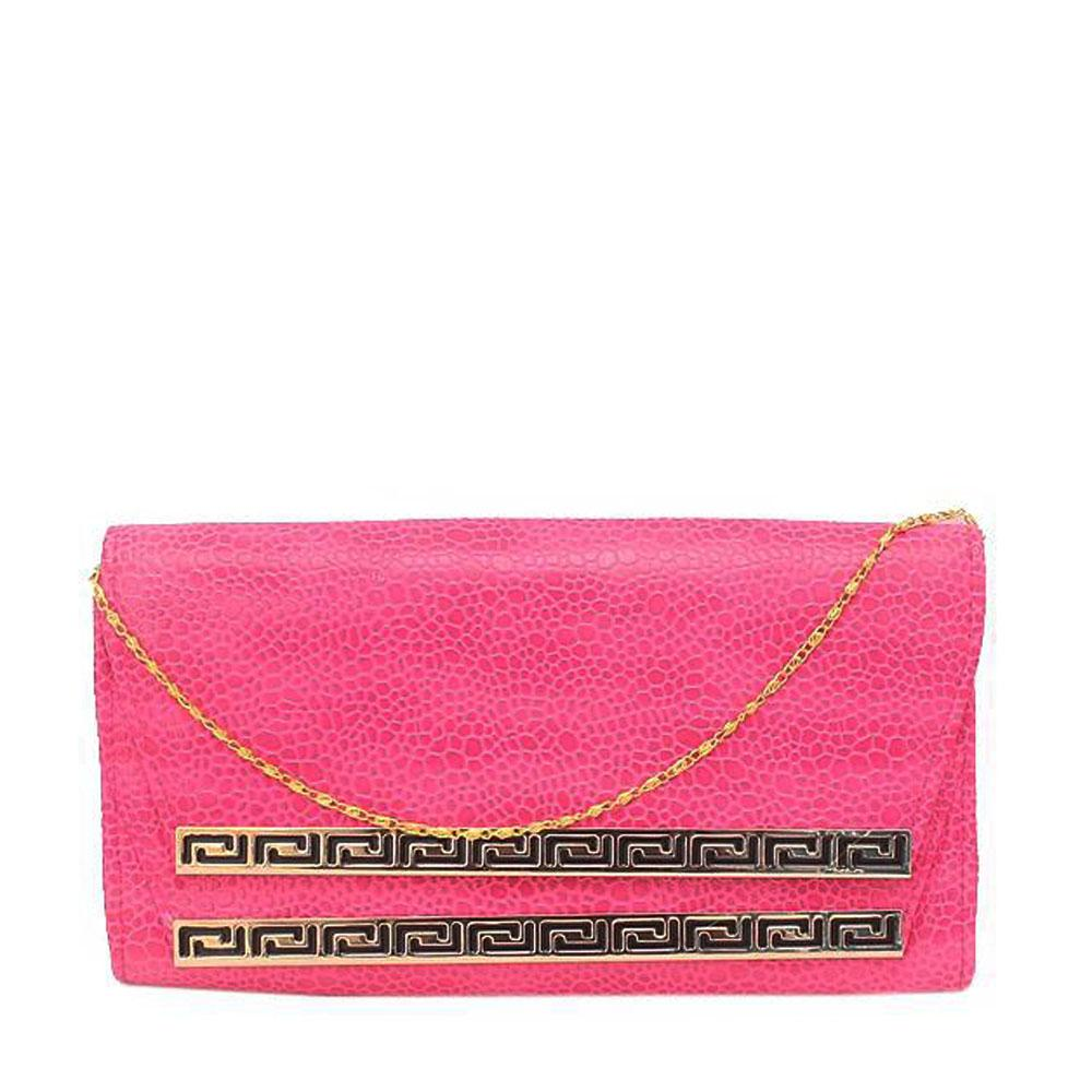 Fashion Pink Leather Clutch Purse