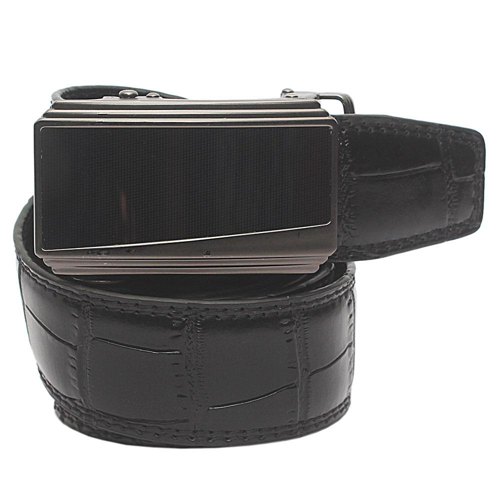 Black Exotic Croc Leather Belt L 46 Inches