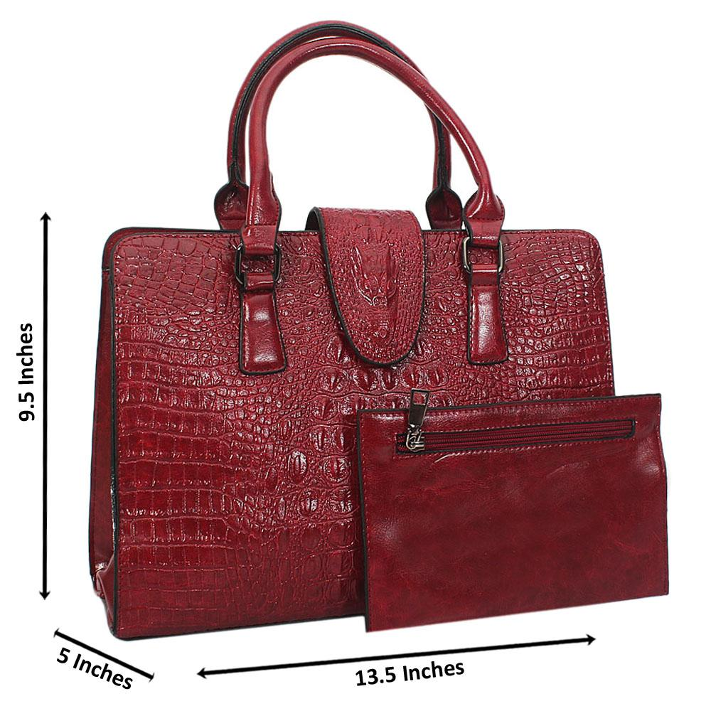 Jane Stanley Melia Wine Croc Leather Tote Handbag