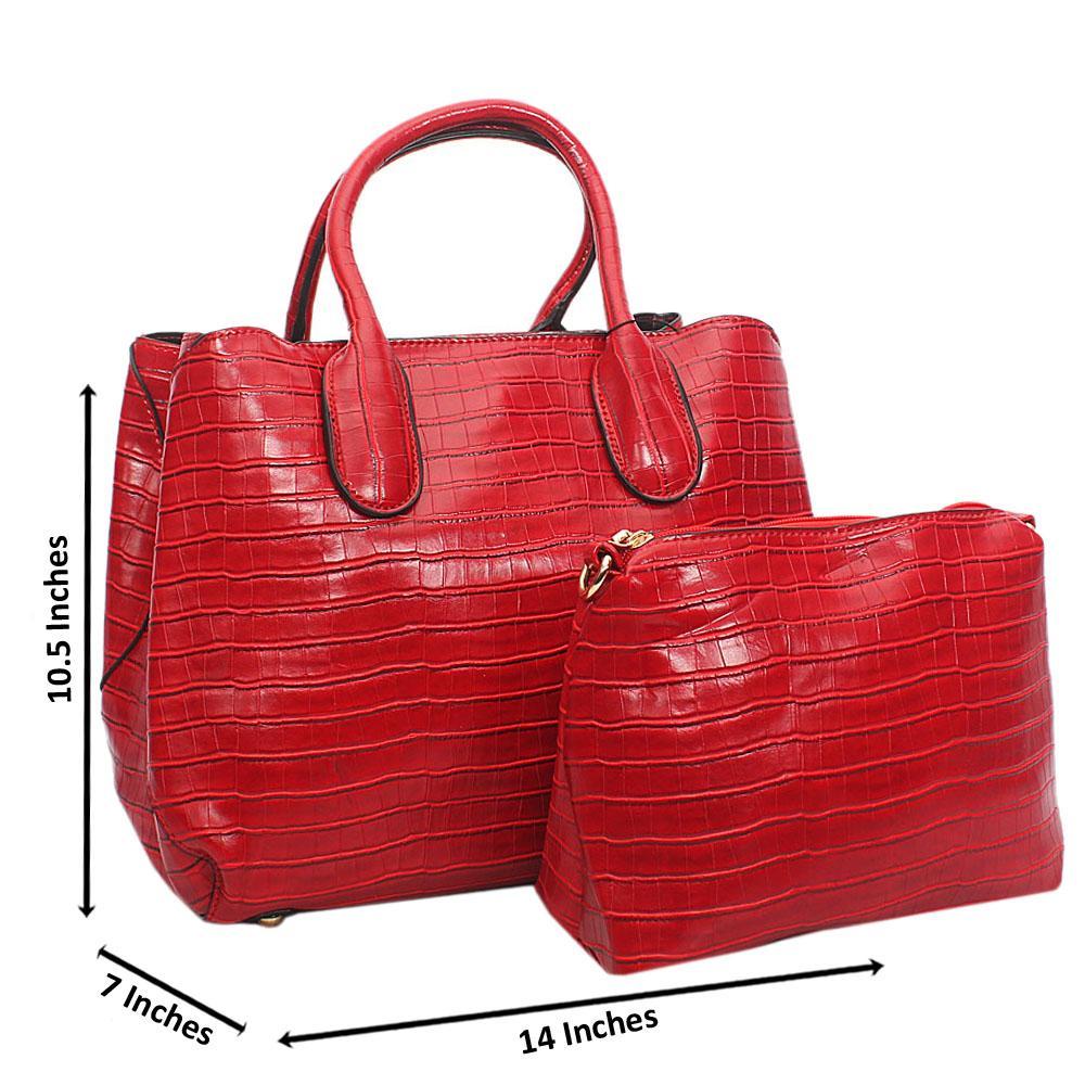 Red Lola Croc Leather Tote Handbag