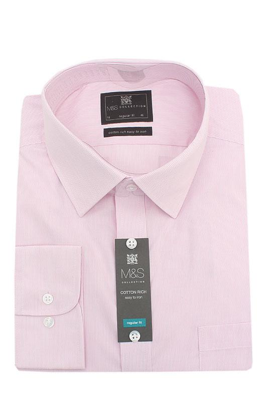 M&S Collection Pink White Striped Cotton Rich Regular Fit L/Sleeve Men Shir