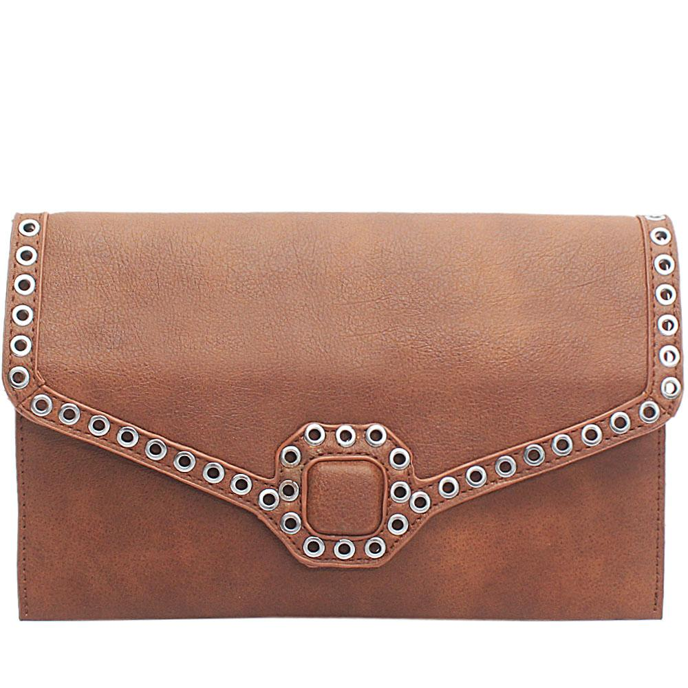 Brown Berlania Leather Flat Purse