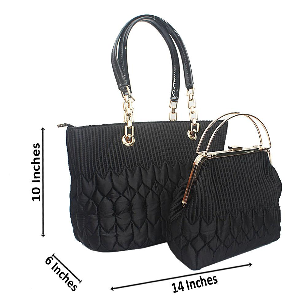 Susen Black  Pattern Etched Bag Wt Purse