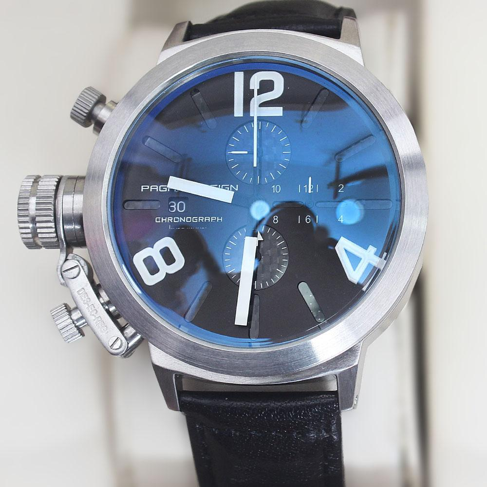Pagani Design Black Leather Big Boy Chronograph Watch