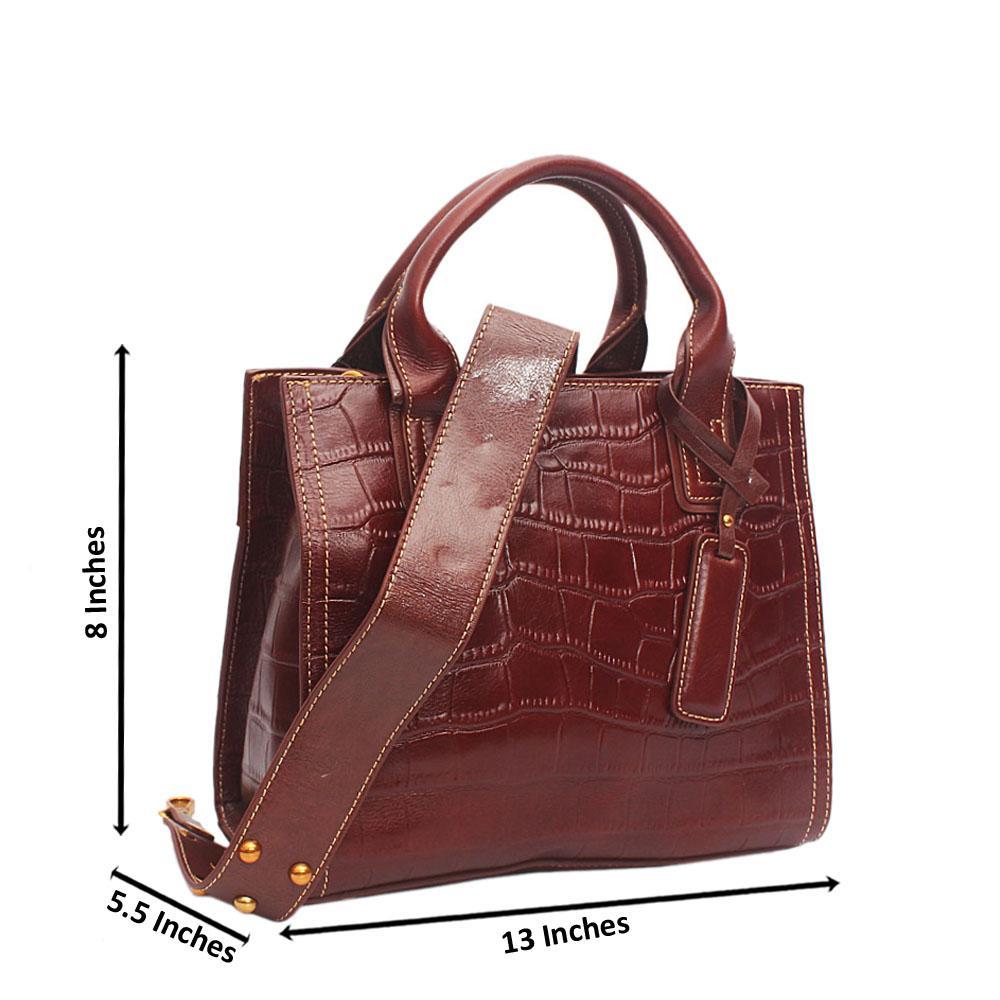 Shinning Crocodile Brown Cow Leather Handbag