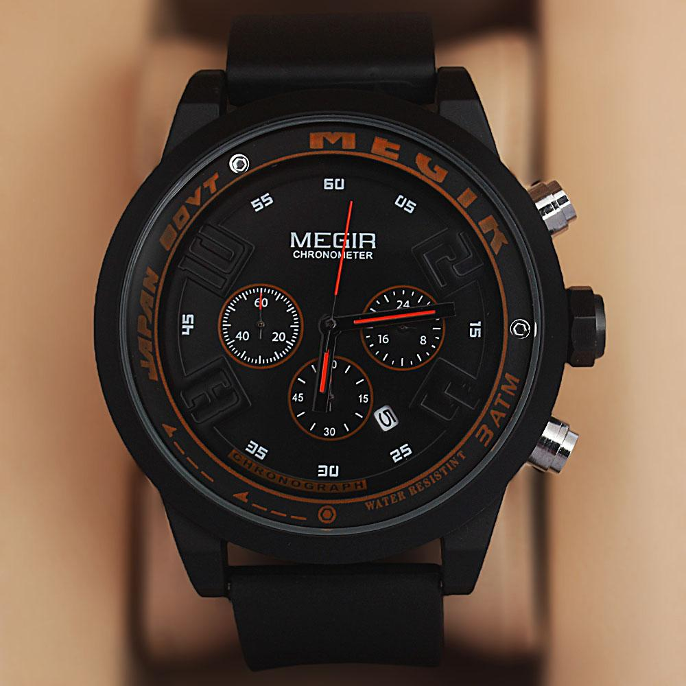 MG Sport Black Rubber Strap Chronograph Watch