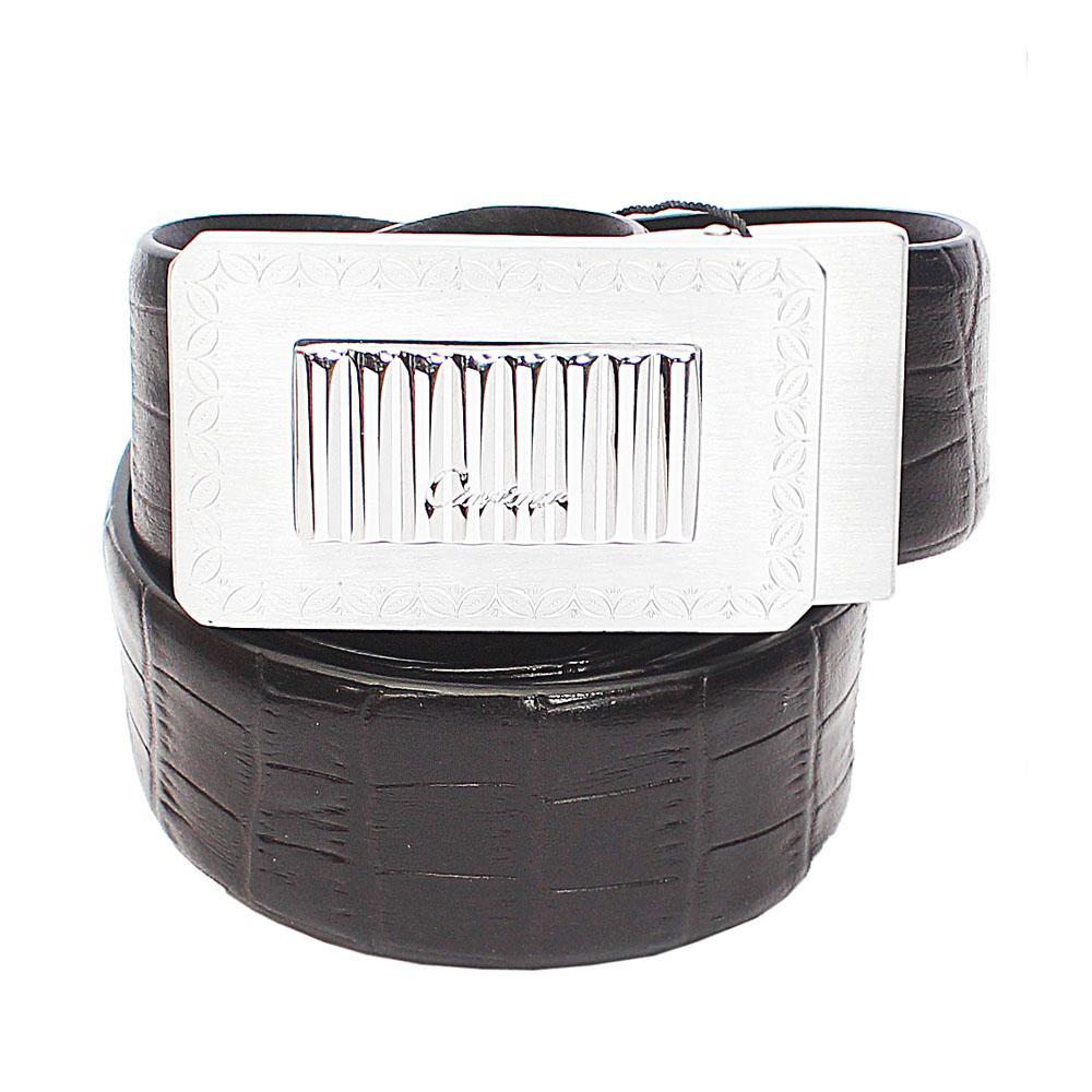 Black Patterned Italian Leather Belt L44