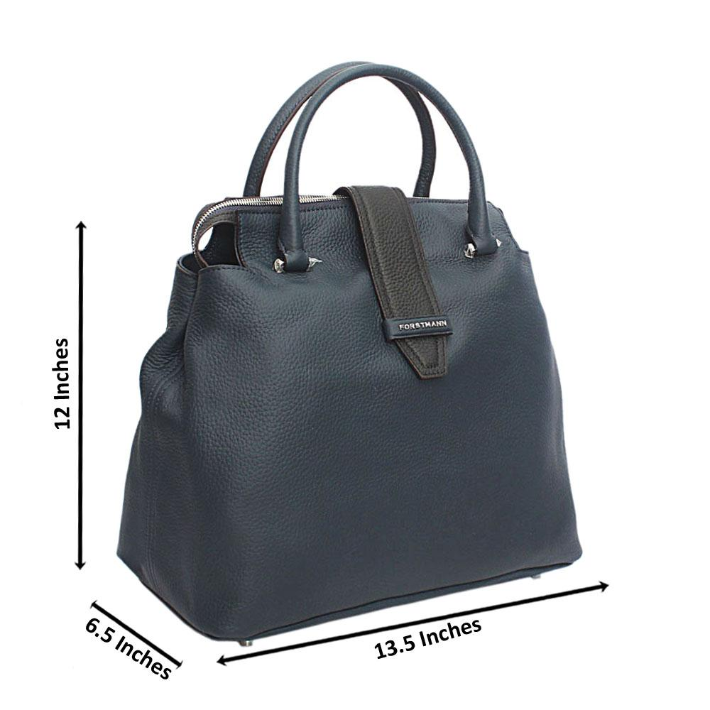 Forstmann Ophelia Blue Black Cow-Leather Tote Handbag