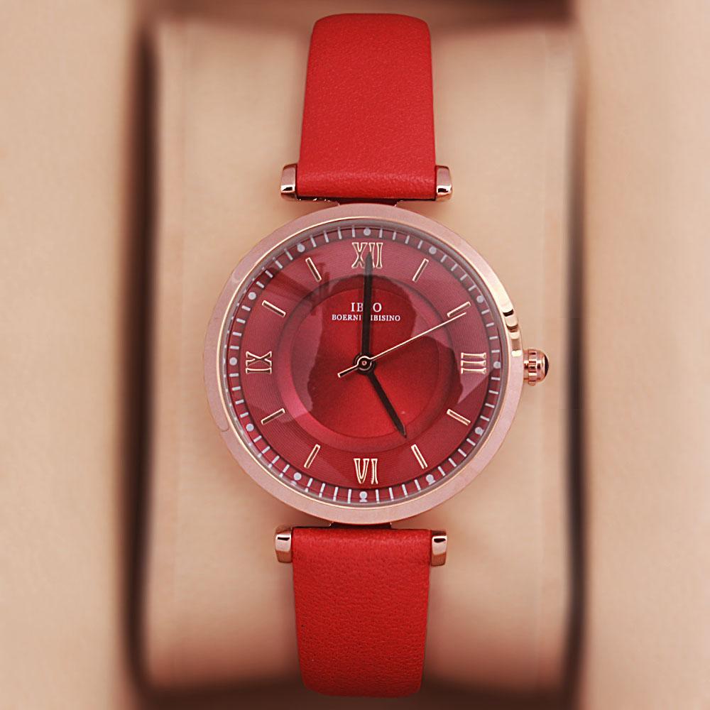 Vintage Red Leather Slim Ladies Watch