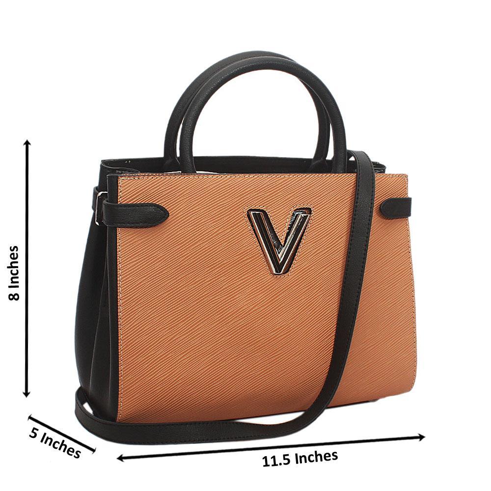 Peach Black Saffiano Leather Tote Handbag
