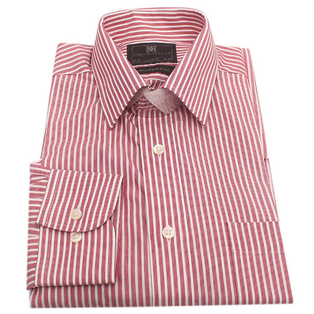 M & S Collection Wine White Regular Fit L/Sleeve Men Shirt