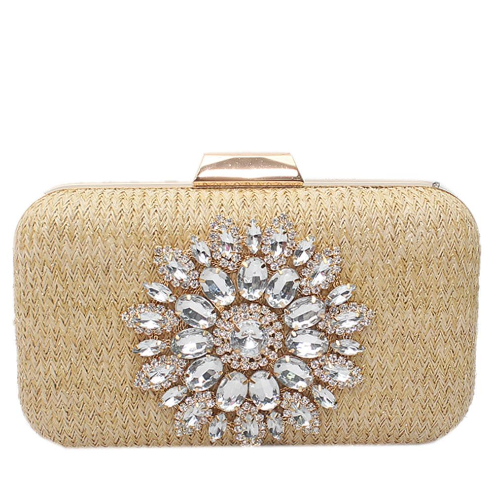 Gold Woven Studded Hard Clutch