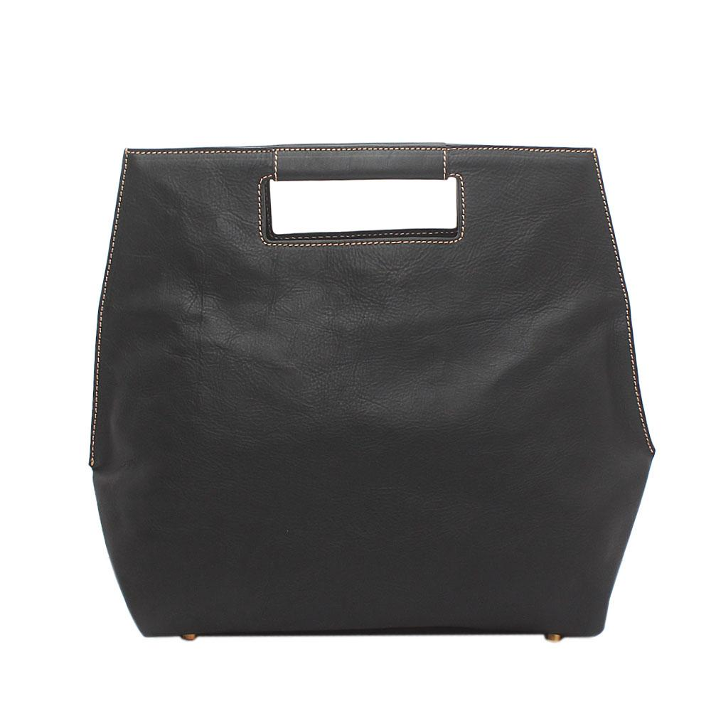 London Style Black Saffiano Leather Handbag