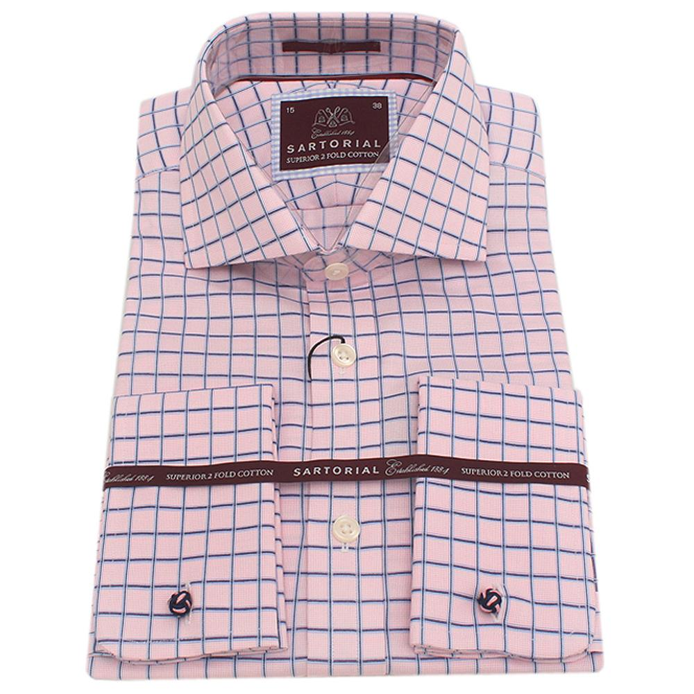 Sartorial Pink Blue Check  Cotton L/Sleeve Men Shirt Wt Cuff -Sz 14.5