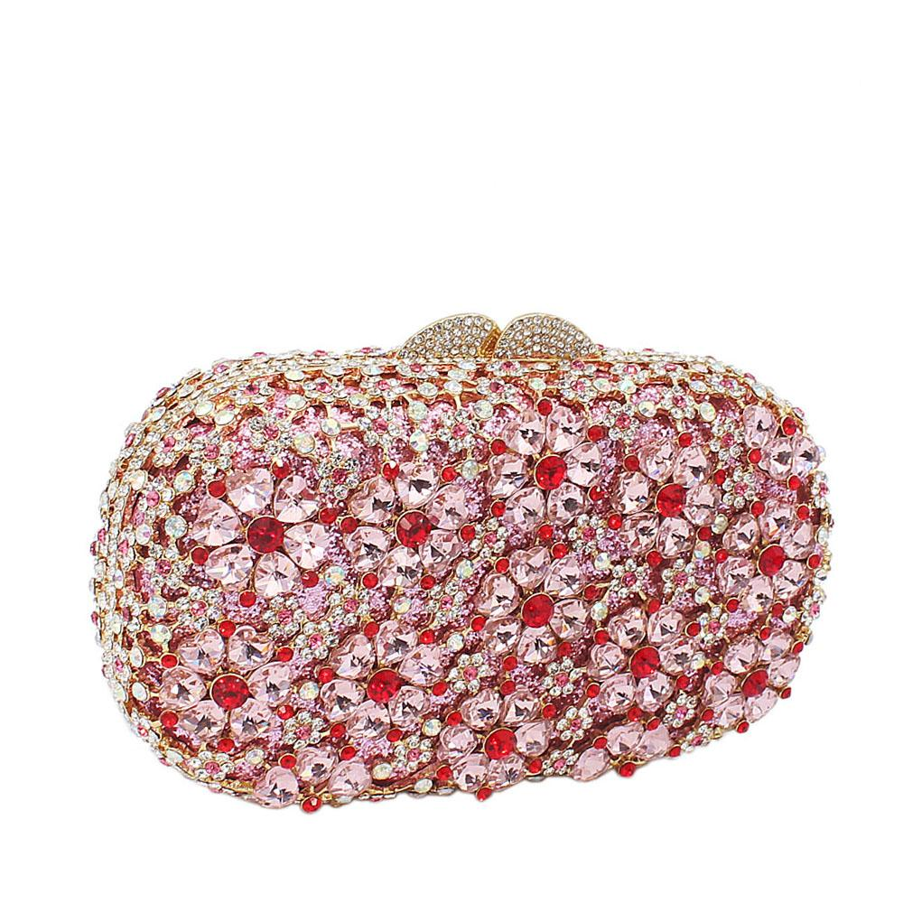 Pink Shimmering Diamante Crystals Clutch Purse