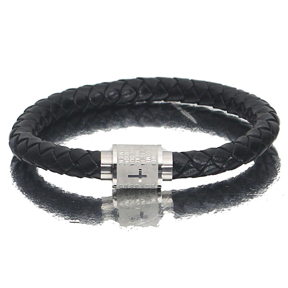 Silver Black Knob Leather Bracelet