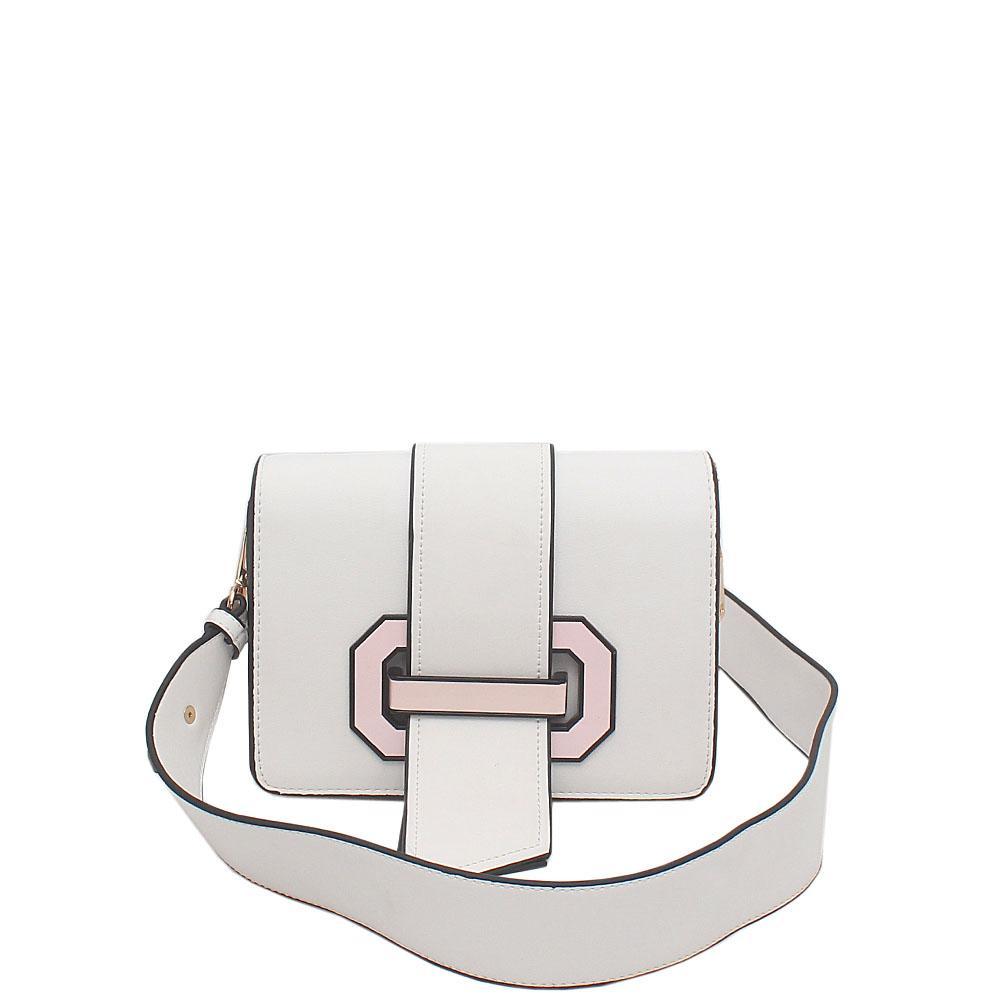White Leather Small Plex Ribbon Bag