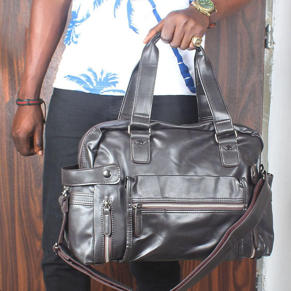 Omelly Coffee Brown Zip Styled Cassania Leather Man Bag
