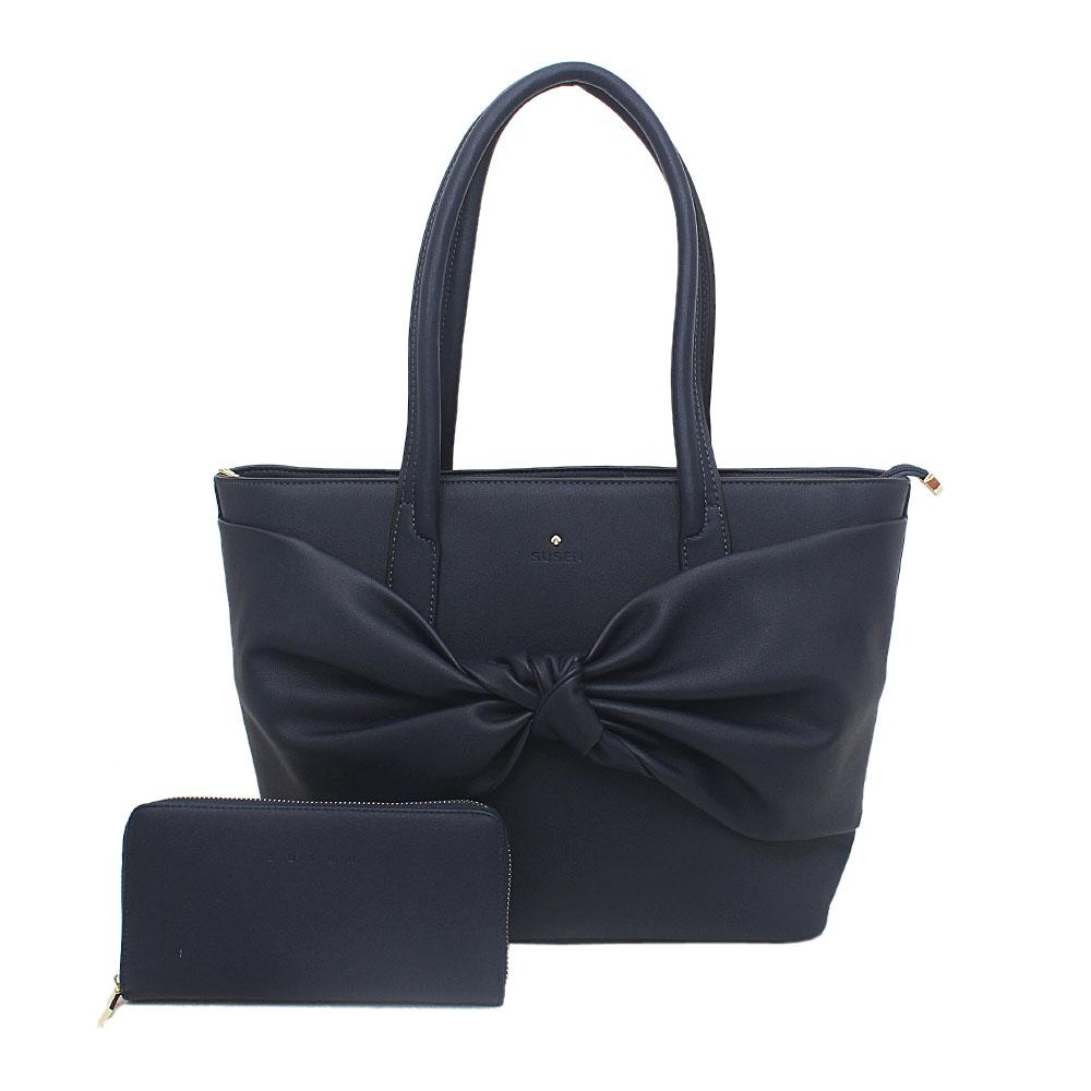 Susen Navy Leather Tote Bag Wt Purse