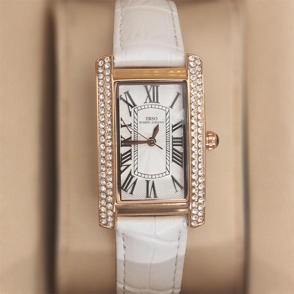 Crystal Rose White Leather Ladies Watch