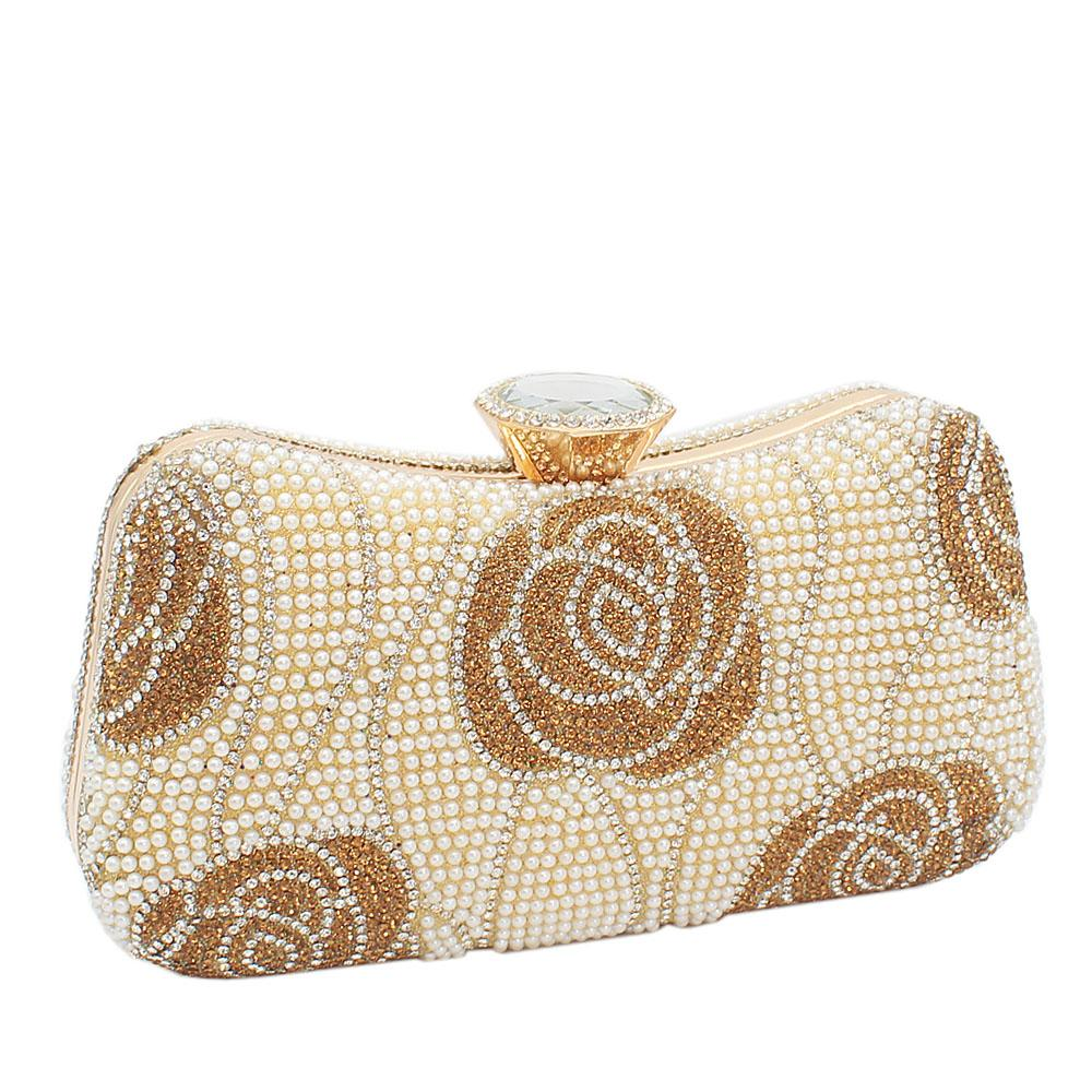 Gold Elsa Full Studded Clutch Purse
