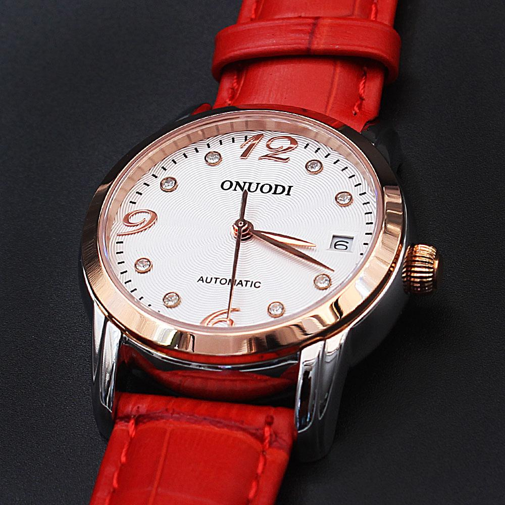 Diane Classic Red Leather Automatic Ladies Watch