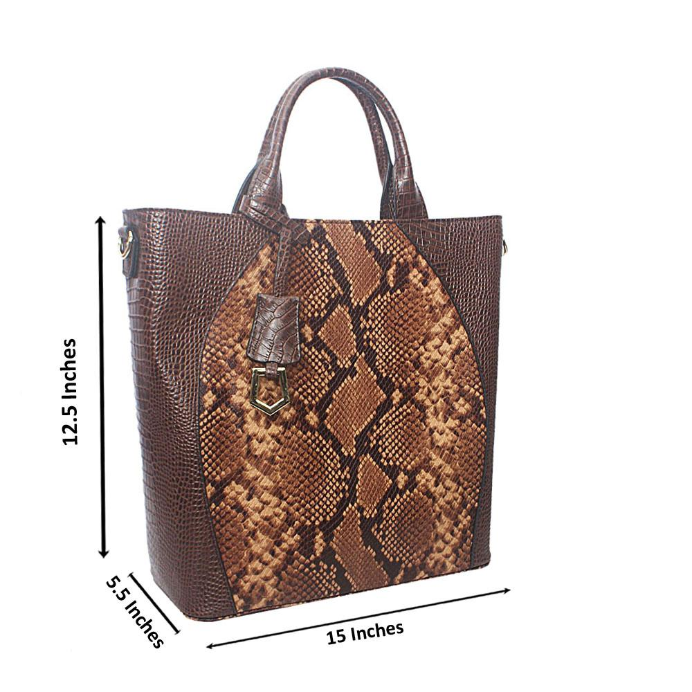 Meliana Coffee Brown Narrow Snake Montana Leather Handbag