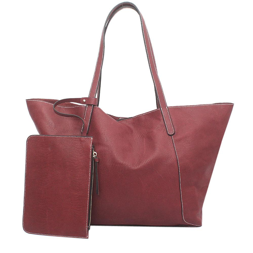London Style Wine Saffiano Leather Tote Bag