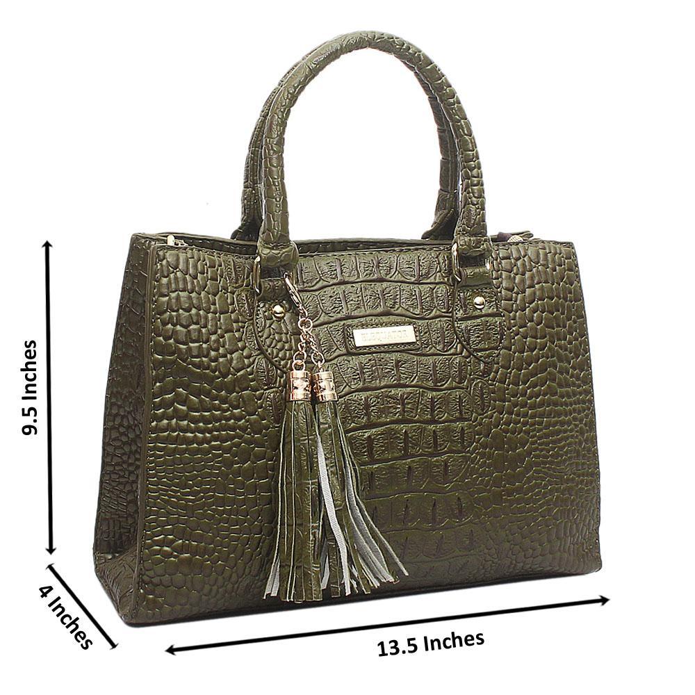 Green Elequator Medium Croc Leather Handbag
