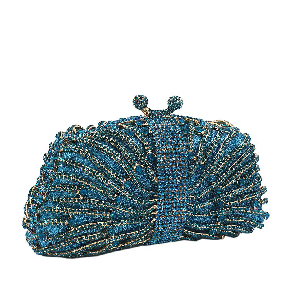 Blue Gold Diamante Crystal Clutch Purse