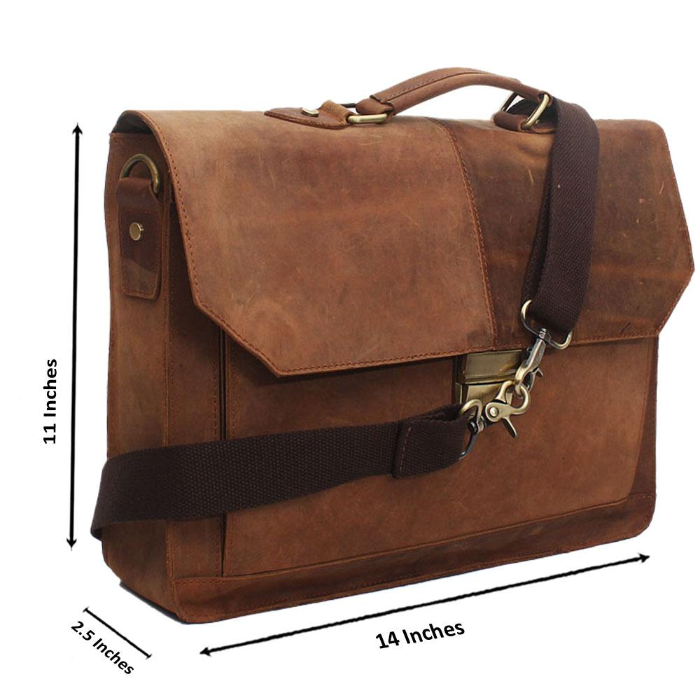 Light Brown Leather Messenger Bag