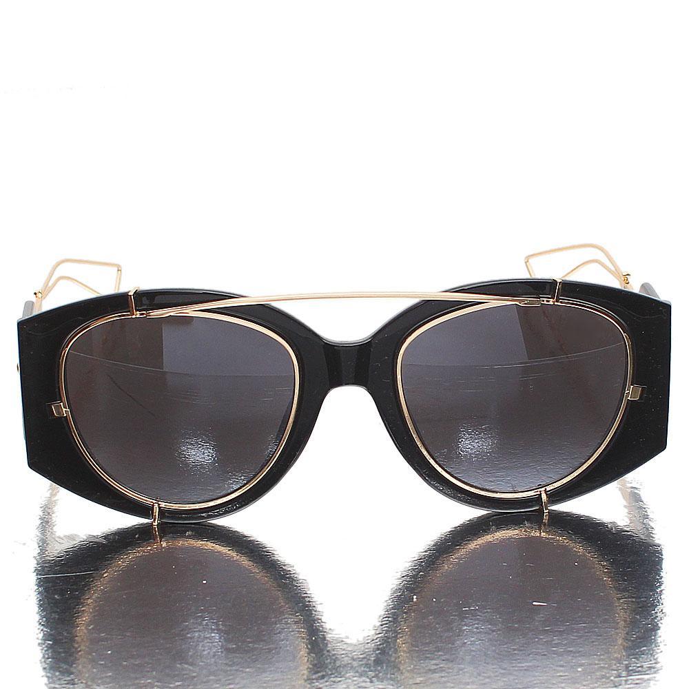 Gold Black Round Face Dark Lens Sunglasses