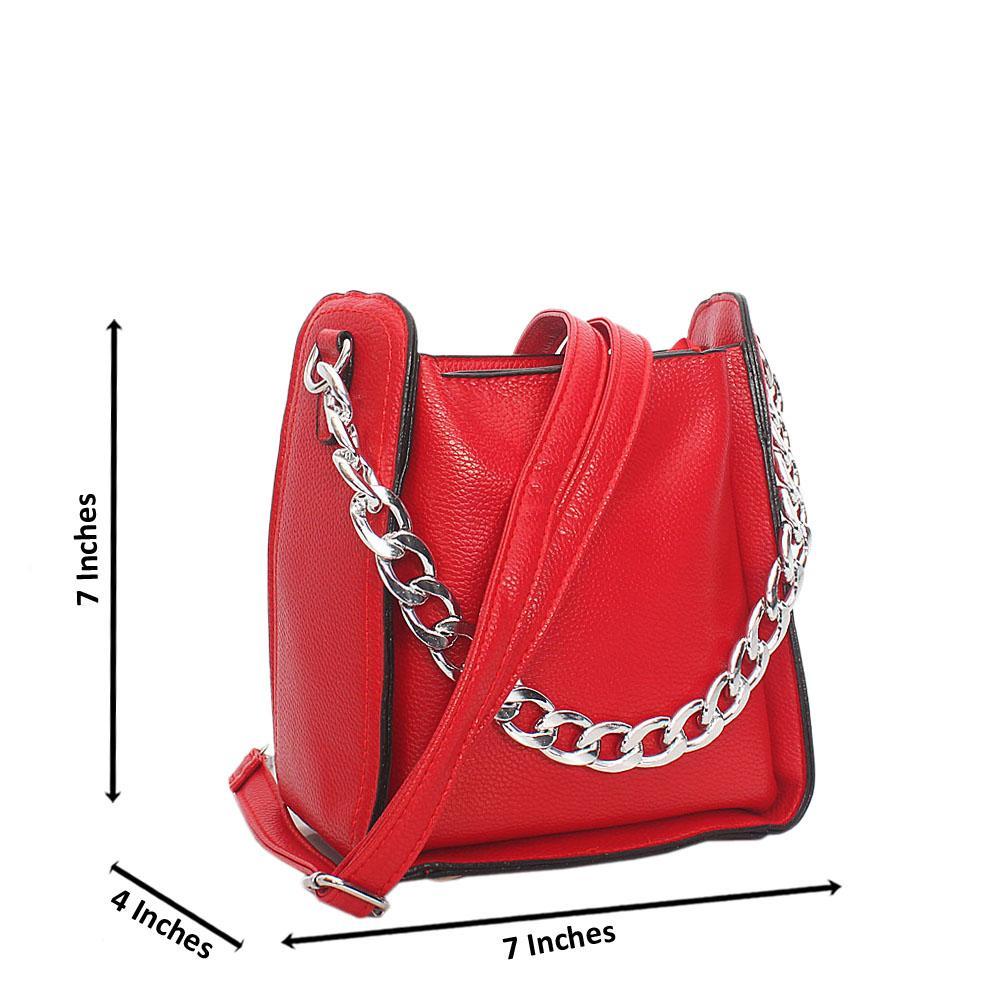 Cute Red Small Leather Chain Strap Handbag