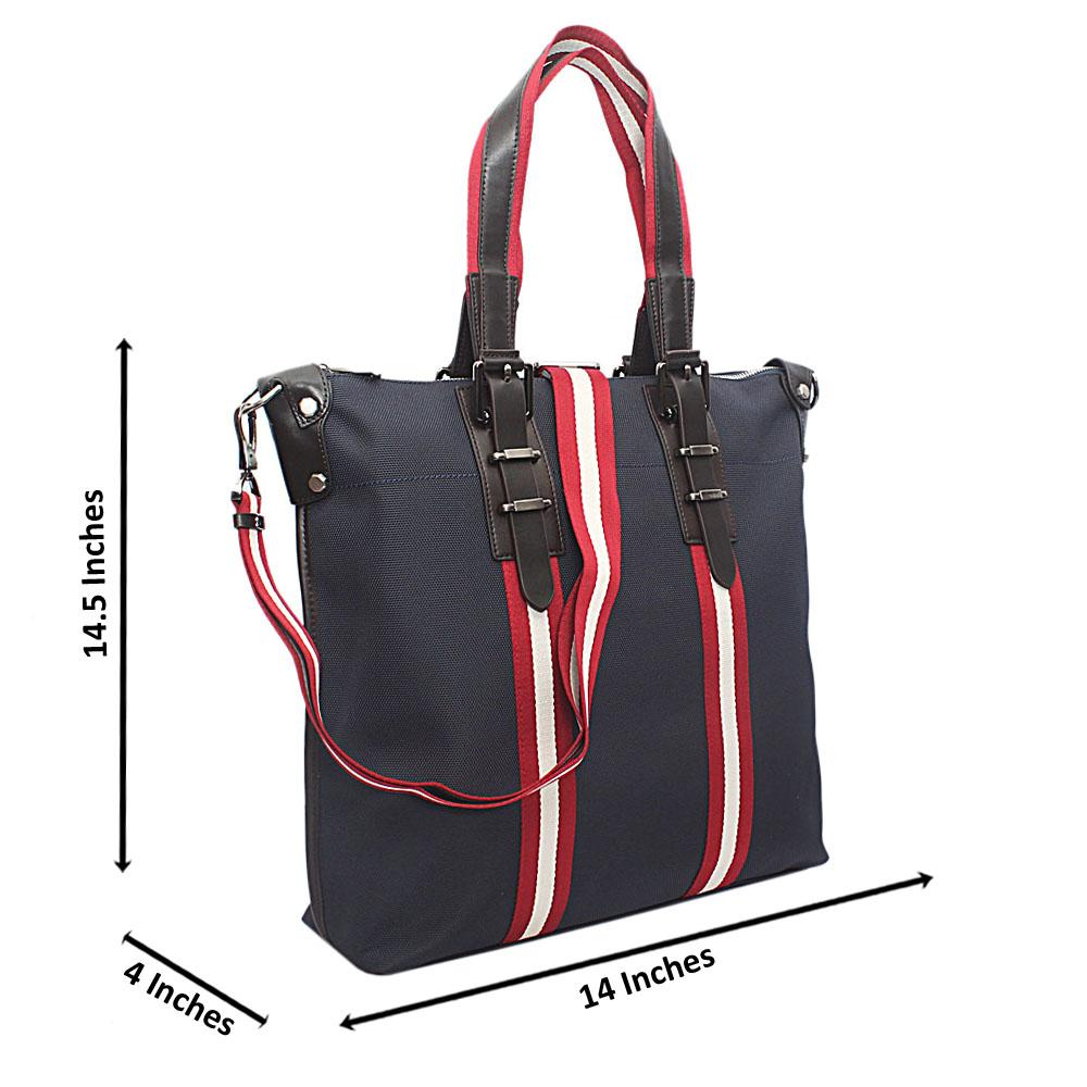 Saint Halberd Blue Red Stripe Fabric Man Bag