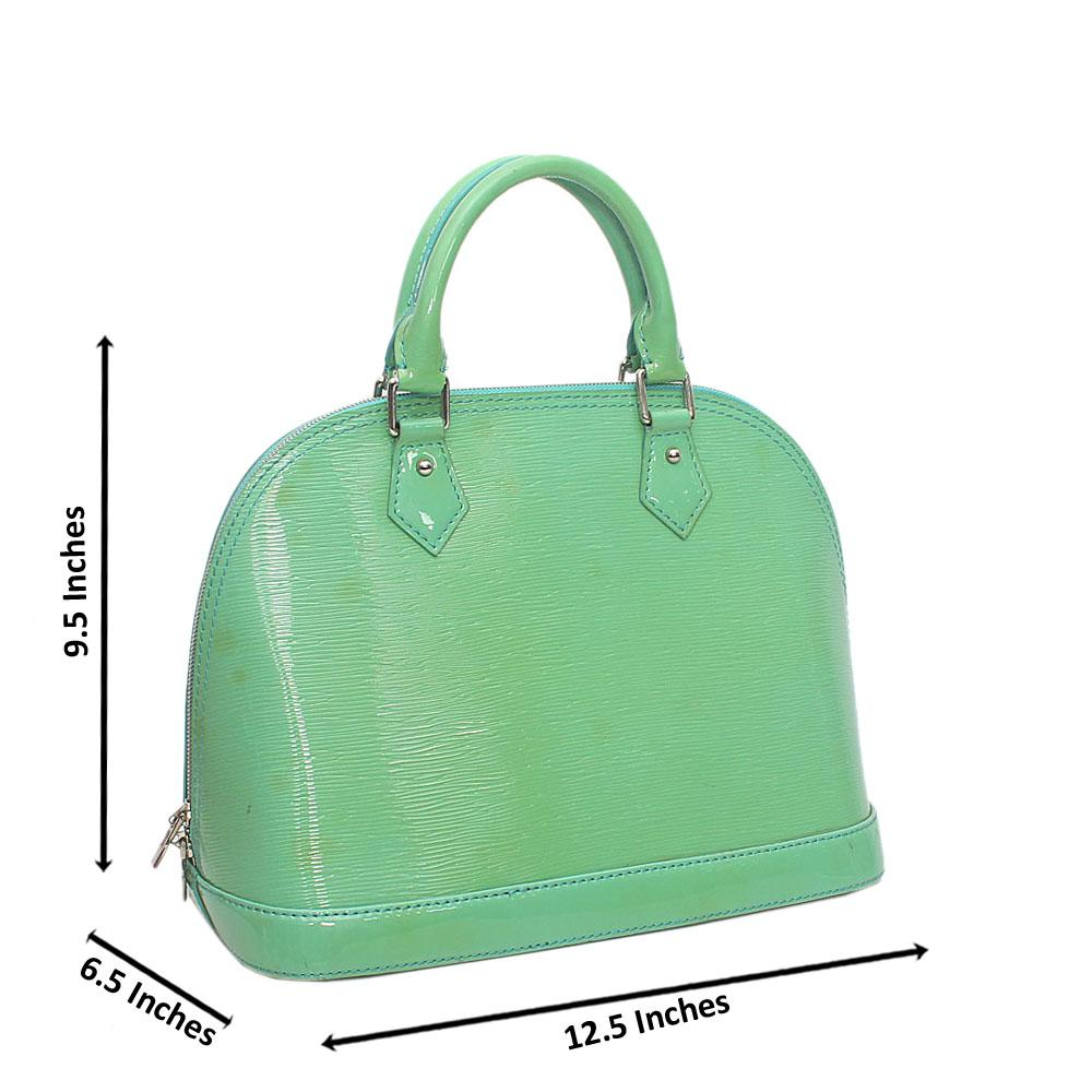 Green Patent Leather Handbag Wt Stains