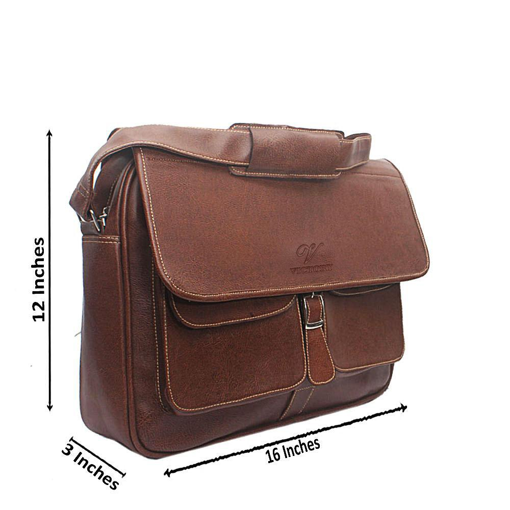 Brown Double Pocket Leather Briefcase