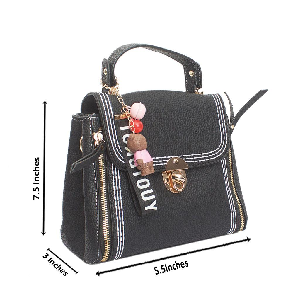 Black Leather Tongtouy Charm Mini Handbag
