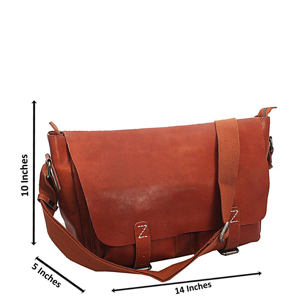Light Brown Bremen Classic Double Pocket Leather Messenger Bag