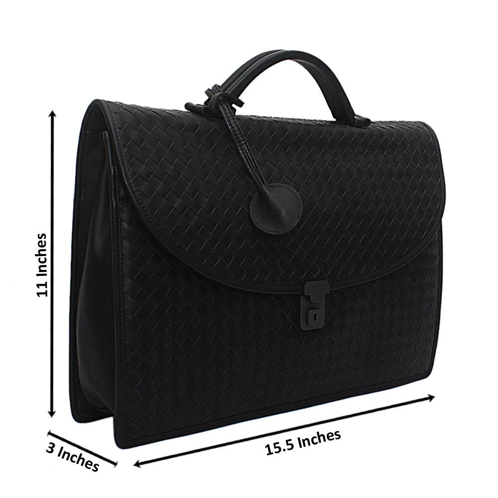 Black Woven Saffiano Leather Brief Case
