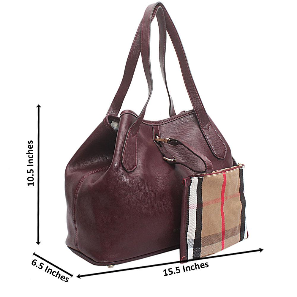 Wine Saffiano Leather Handbag