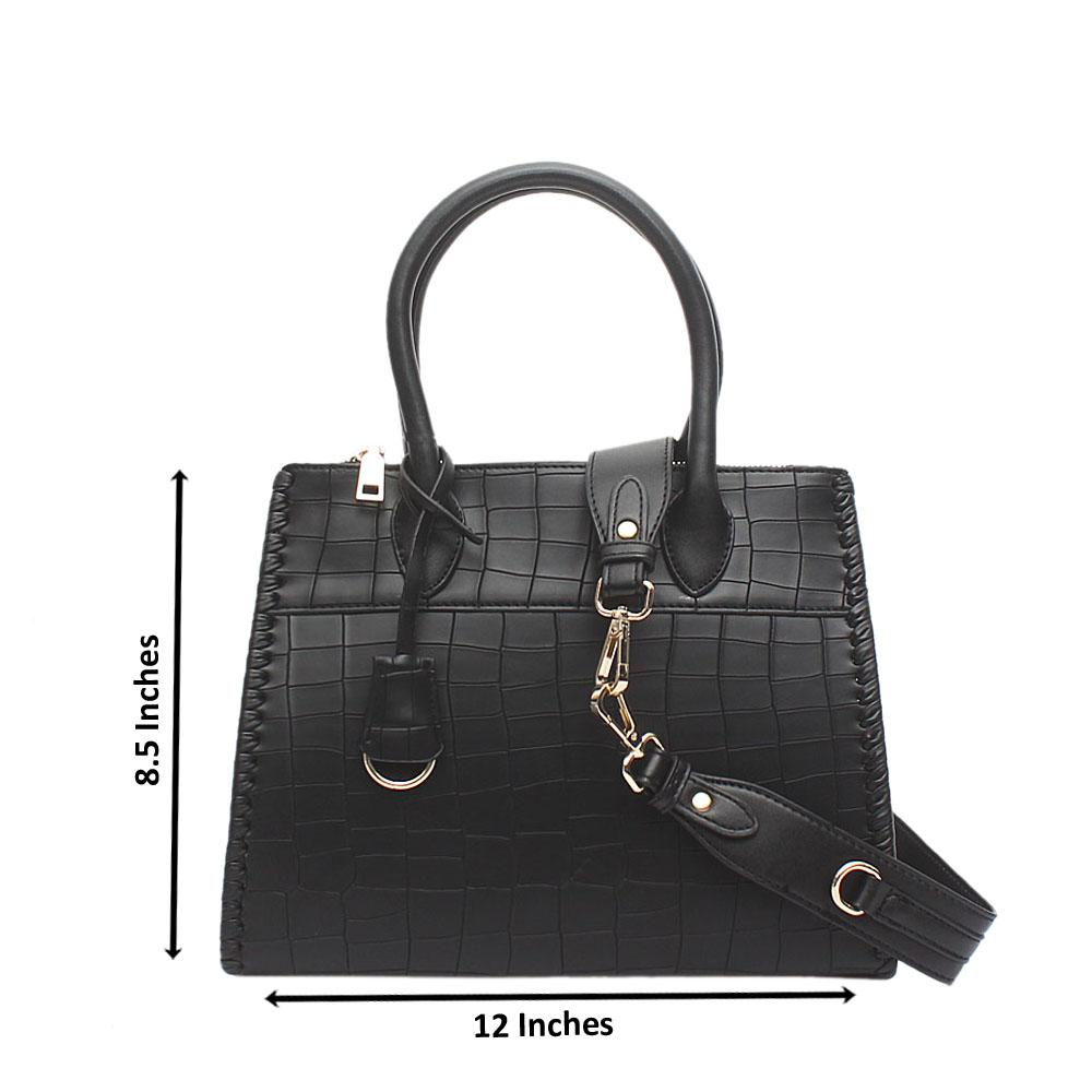 London Style Black Croc Leather Tote Bag