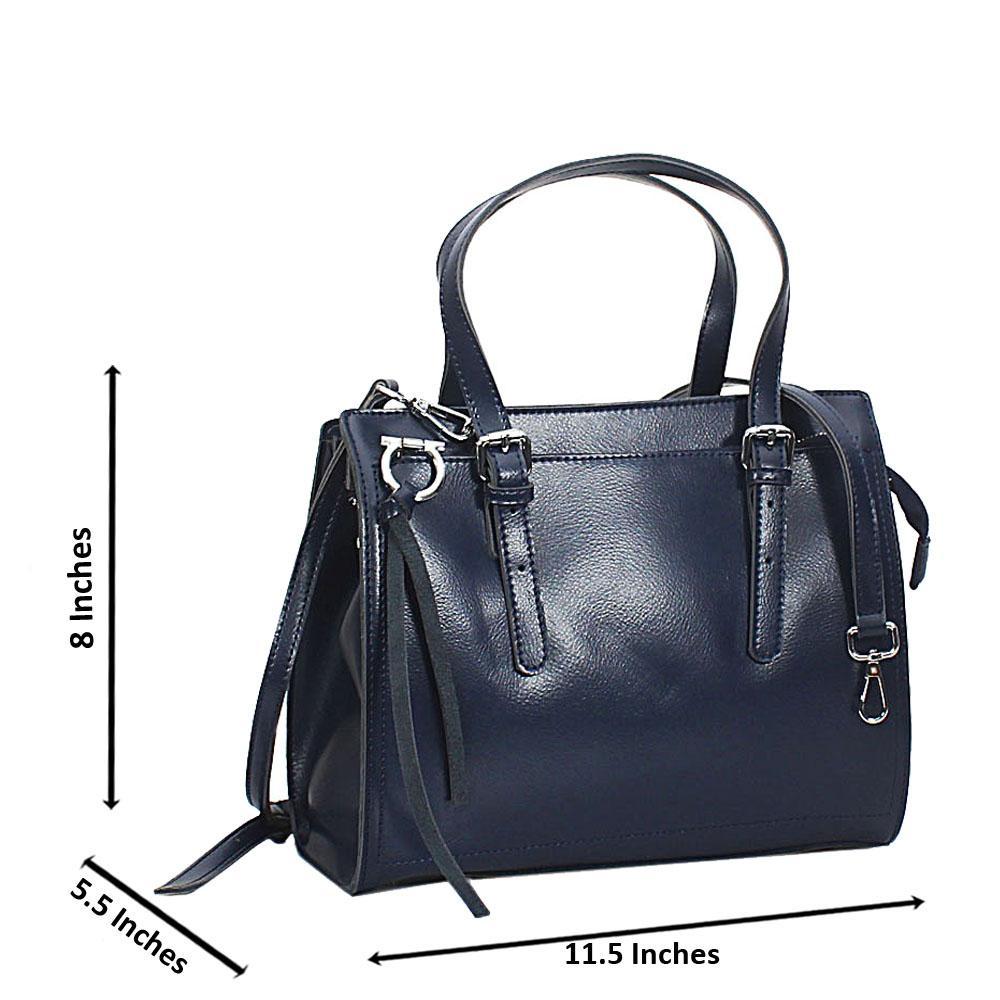 Navy Laura Leather Tote Handbag