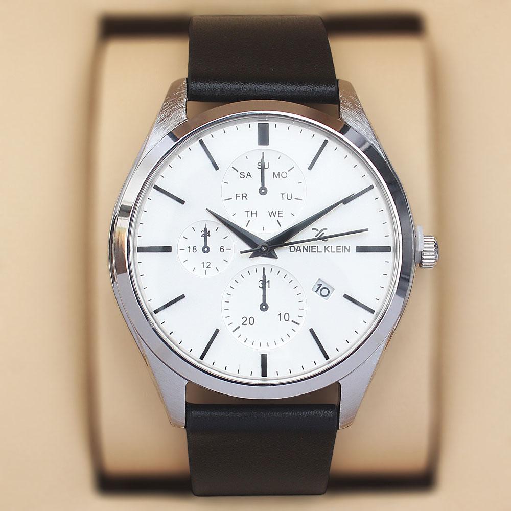 Daniel Klein Vintage Black Leather Pilot Series Watch