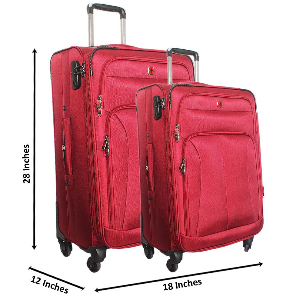 Saint Red 28 Inch wt 24 Inch Fabric 4 Wheels Spinners Suitcase Set
