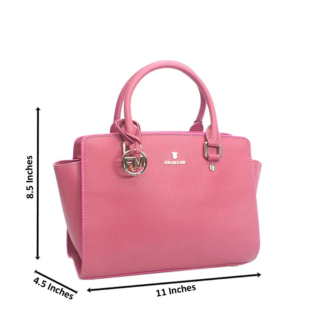 Elegant Pink Zip Jet Tuscany Leather Tote Handbag Wt Minor Factory Default